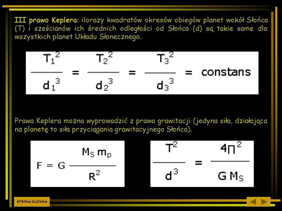 III prawo Keplera: ilorazy kwadratów okresów obiegów planet wokół Słońca (T) i sześcianów ich średnich odległości od Słońca (d) są takie same dla wszystkich planet Układu Słonecznego.