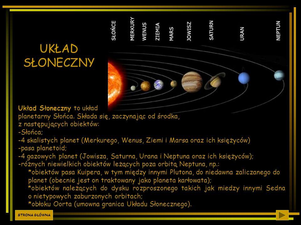 UKŁAD SŁONECZNY Układ Słoneczny to układ planetarny Słońca. Składa się, zaczynając od środka, z następujących obiektów: