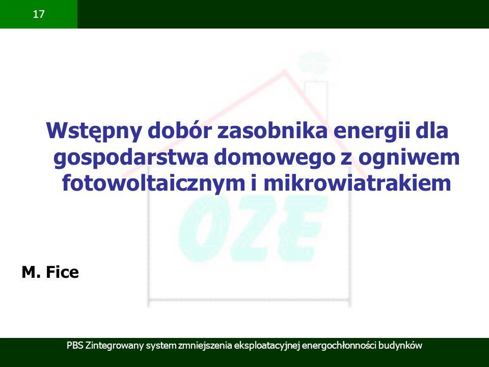 Wstępny dobór zasobnika energii dla gospodarstwa domowego z ogniwem fotowoltaicznym i mikrowiatrakiem