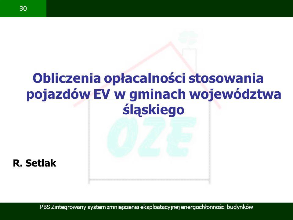 Obliczenia opłacalności stosowania pojazdów EV w gminach województwa śląskiego