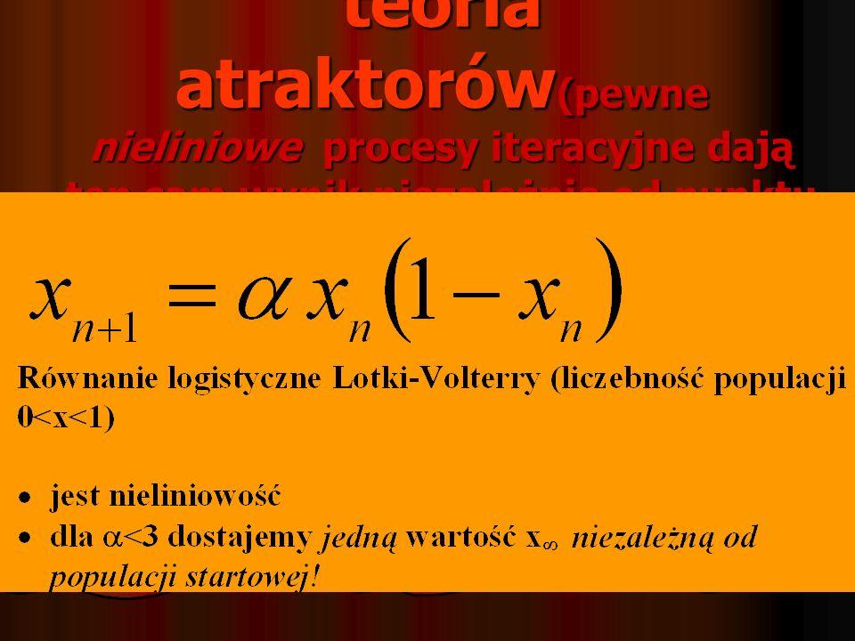 teoria atraktorów(pewne nieliniowe procesy iteracyjne dają ten sam wynik niezależnie od punktu startu)
