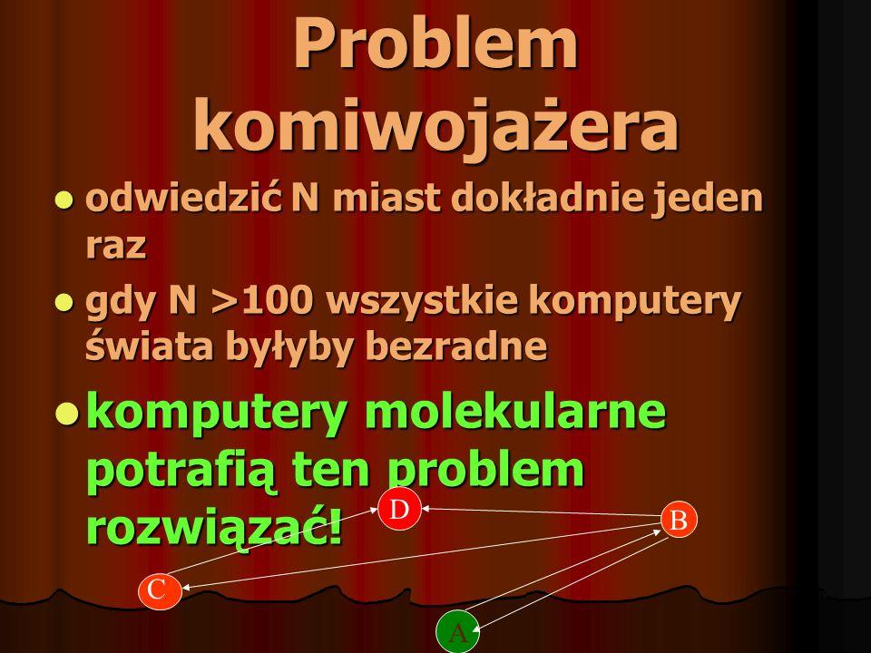 Problem komiwojażeraodwiedzić N miast dokładnie jeden raz. gdy N >100 wszystkie komputery świata byłyby bezradne.