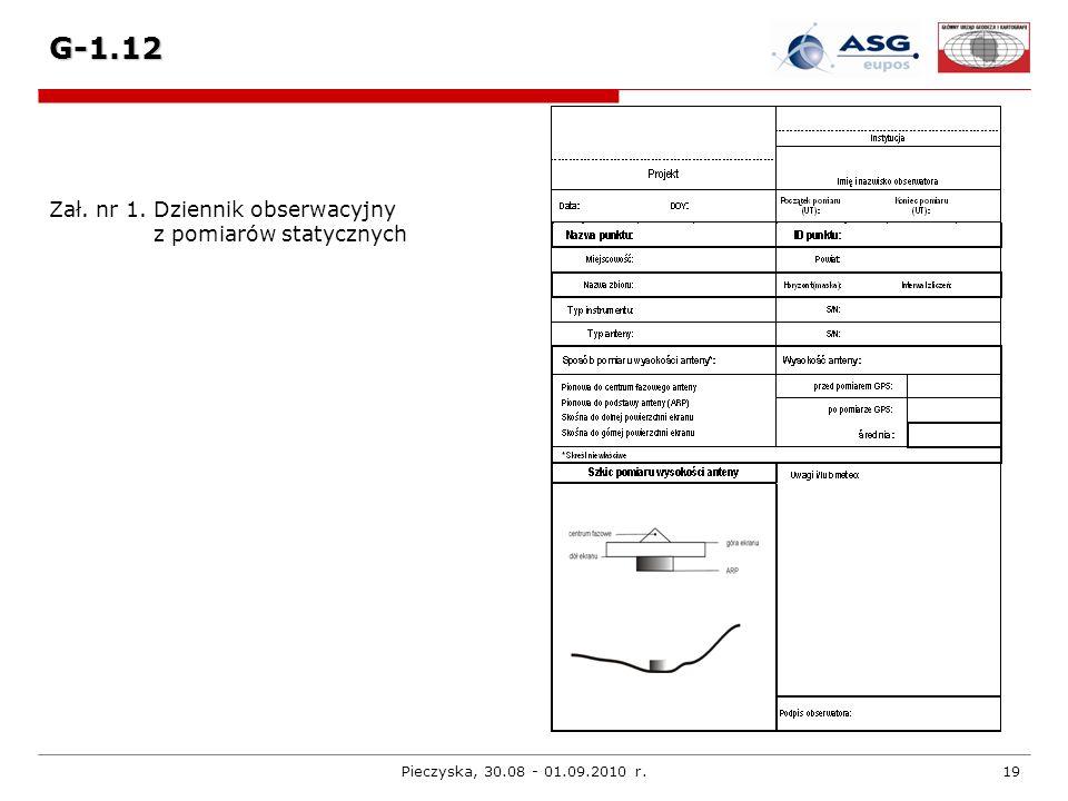 G-1.12 Zał. nr 1. Dziennik obserwacyjny z pomiarów statycznych