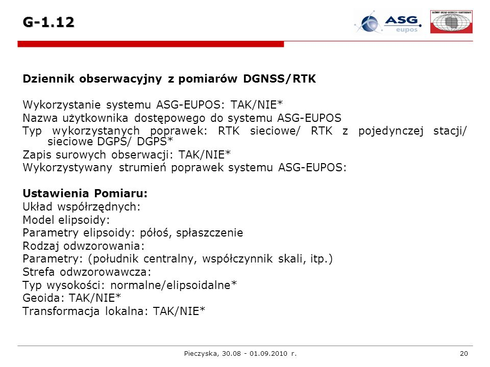 G-1.12 Dziennik obserwacyjny z pomiarów DGNSS/RTK