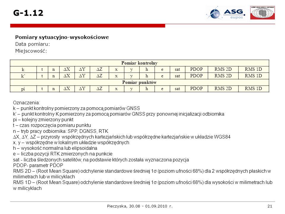 G-1.12 Pomiary sytuacyjno-wysokościowe Data pomiaru: Miejscowość: