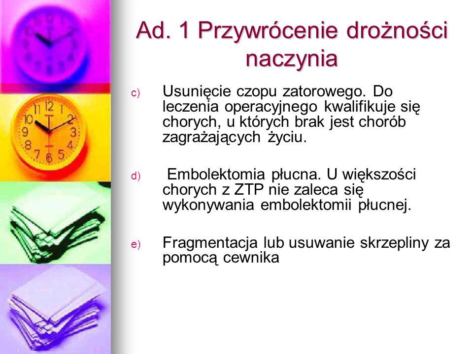 Ad. 1 Przywrócenie drożności naczynia