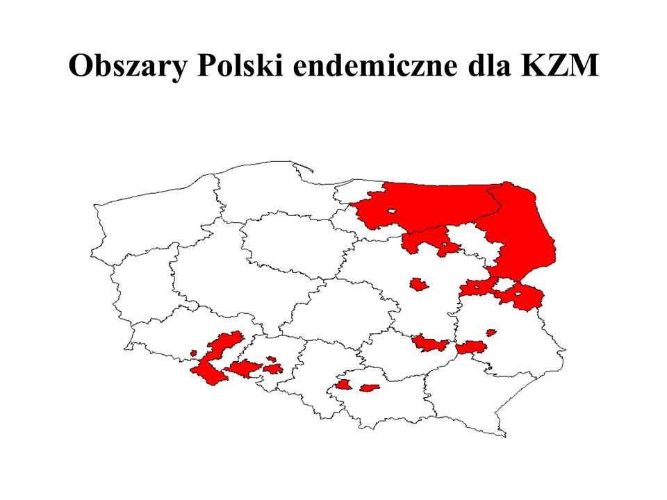 Obszary Polski endemiczne dla KZM