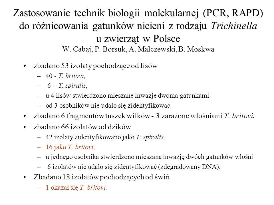 Zastosowanie technik biologii molekularnej (PCR, RAPD) do różnicowania gatunków nicieni z rodzaju Trichinella u zwierząt w Polsce W. Cabaj, P. Borsuk, A. Malczewski, B. Moskwa