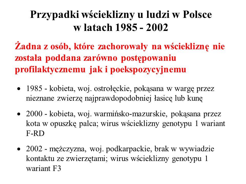 Przypadki wścieklizny u ludzi w Polsce w latach 1985 - 2002