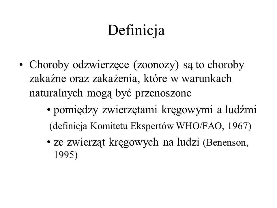 Definicja Choroby odzwierzęce (zoonozy) są to choroby zakaźne oraz zakażenia, które w warunkach naturalnych mogą być przenoszone.