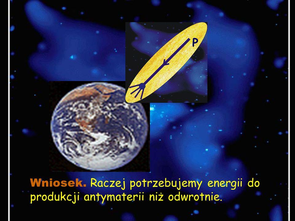 P Wniosek. Raczej potrzebujemy energii do produkcji antymaterii niż odwrotnie.