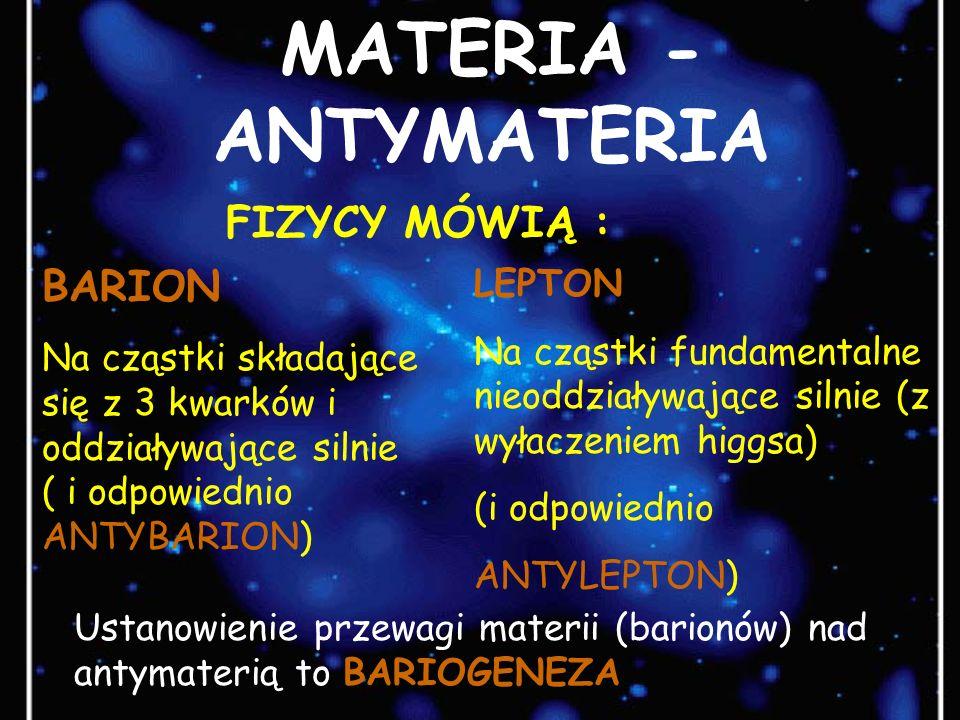 MATERIA - ANTYMATERIA FIZYCY MÓWIĄ : BARION LEPTON