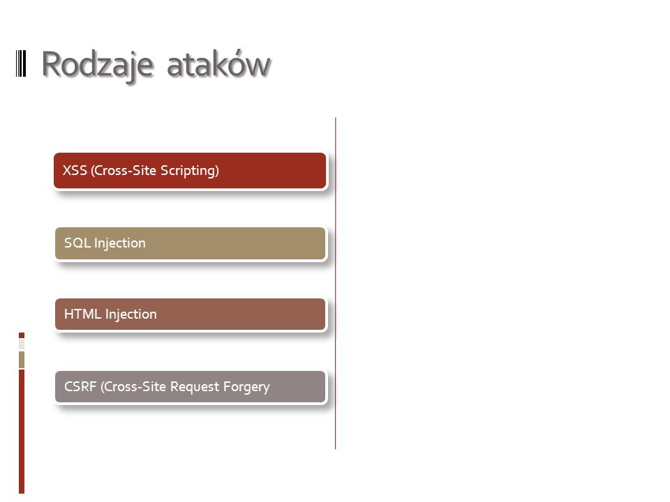 Rodzaje ataków XSS (Cross-Site Scripting) SQL Injection HTML Injection