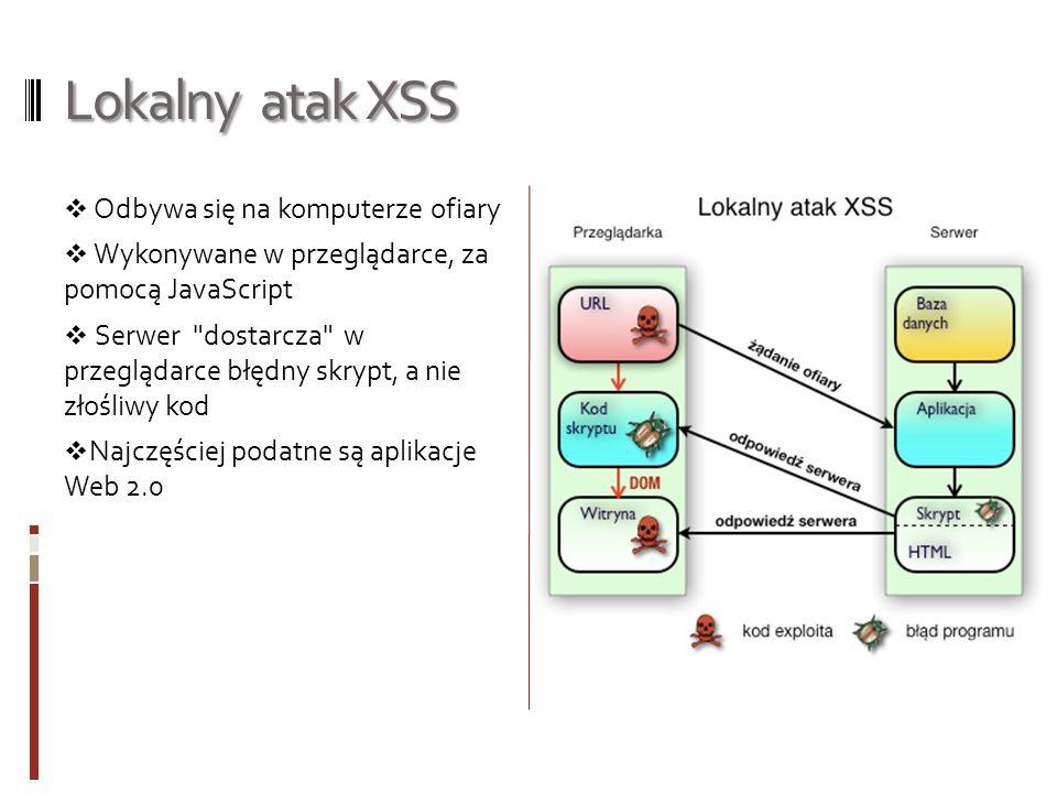 Lokalny atak XSS Odbywa się na komputerze ofiary