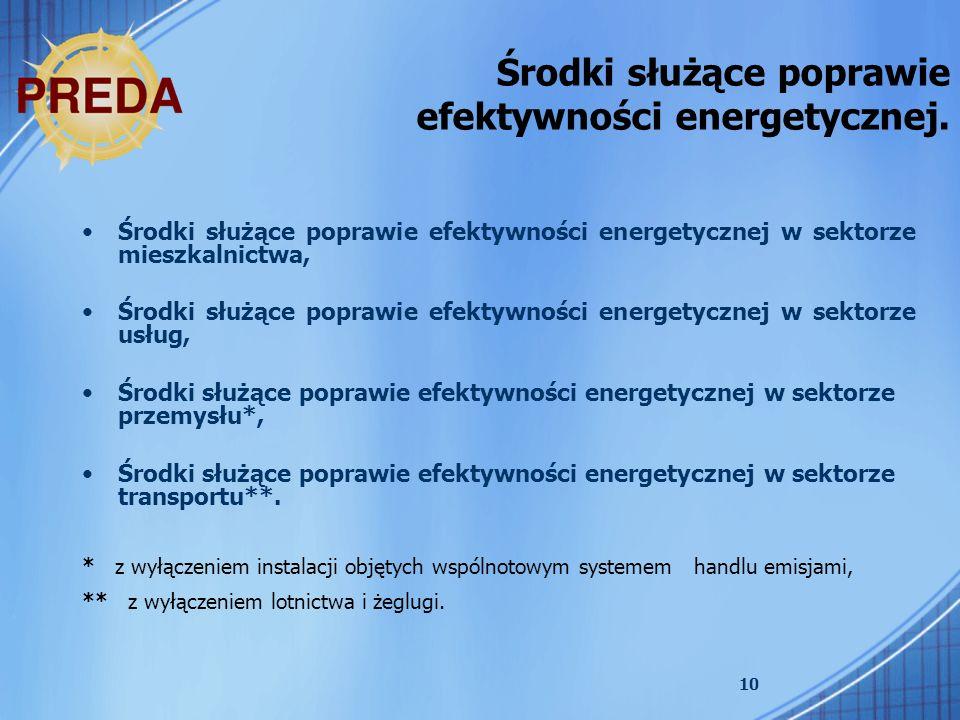 Środki służące poprawie efektywności energetycznej.