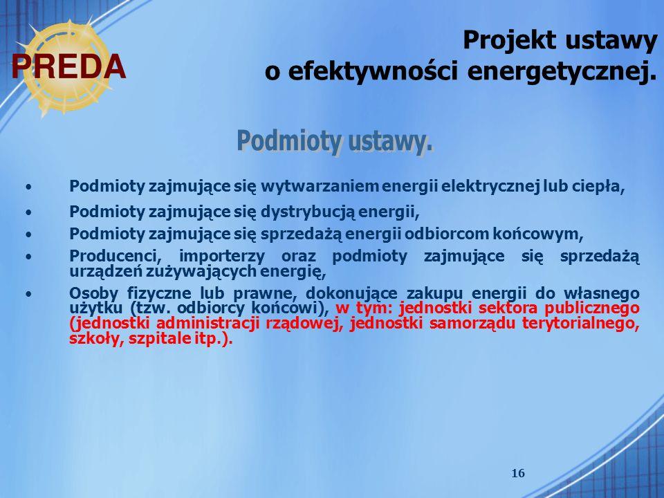 Projekt ustawy o efektywności energetycznej.