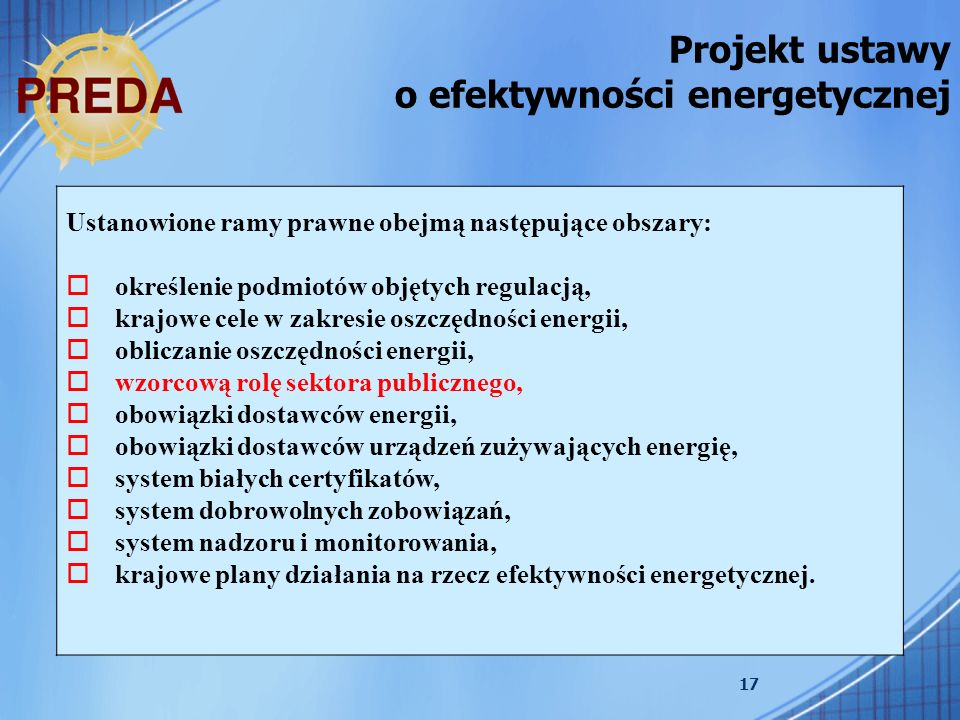 Projekt ustawy o efektywności energetycznej