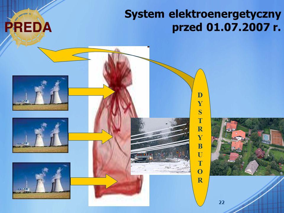 System elektroenergetyczny przed 01.07.2007 r.