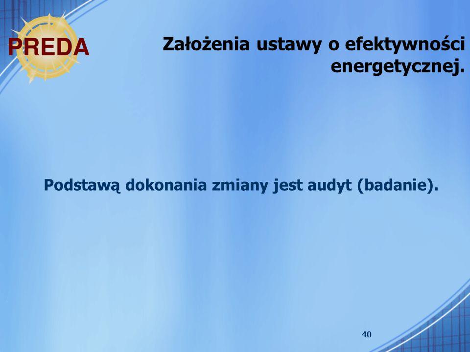 Założenia ustawy o efektywności energetycznej.