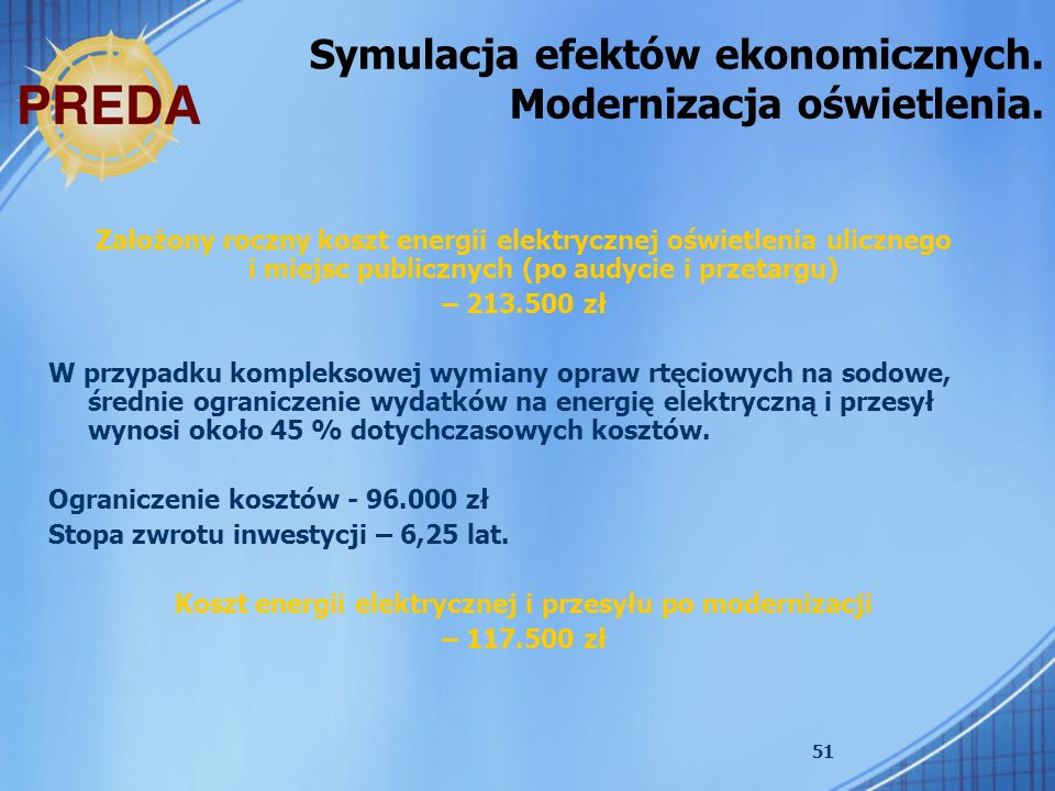 Koszt energii elektrycznej i przesyłu po modernizacji