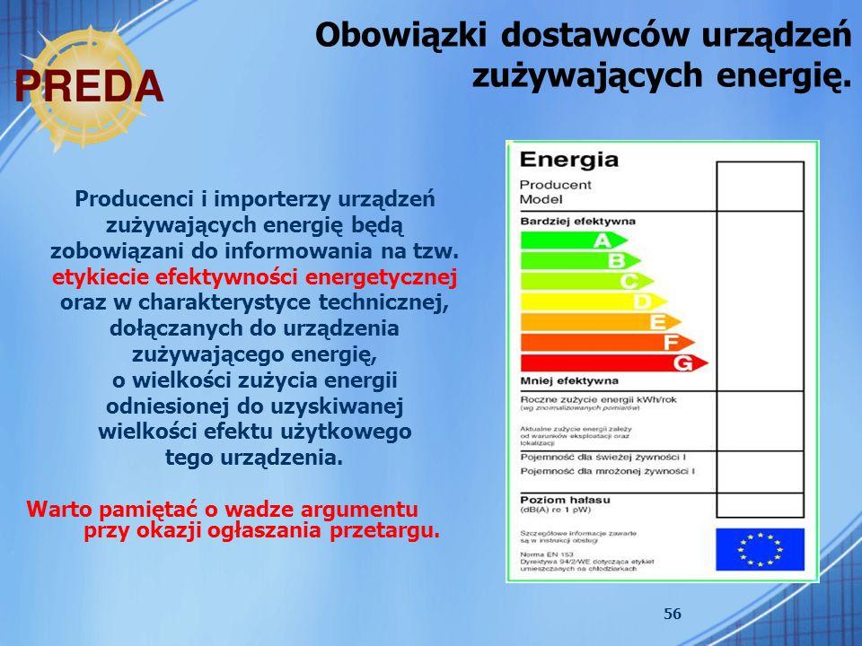 Obowiązki dostawców urządzeń zużywających energię.