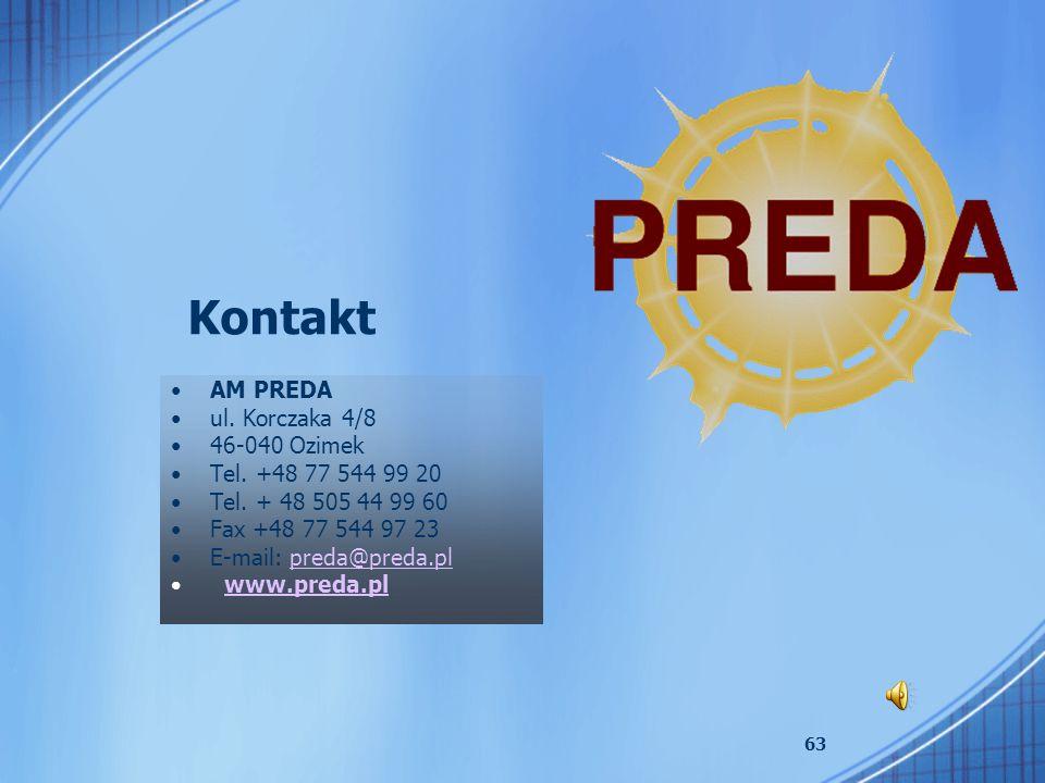 Kontakt AM PREDA ul. Korczaka 4/8 46-040 Ozimek Tel. +48 77 544 99 20