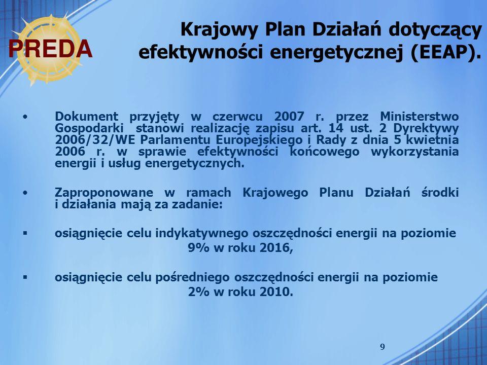 Krajowy Plan Działań dotyczący efektywności energetycznej (EEAP).