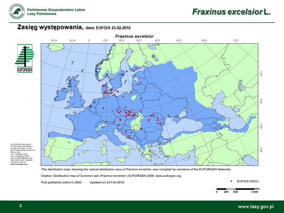 Fraxinus excelsior L. Zasięg występowania, dane EUFGIS 23.02.2010