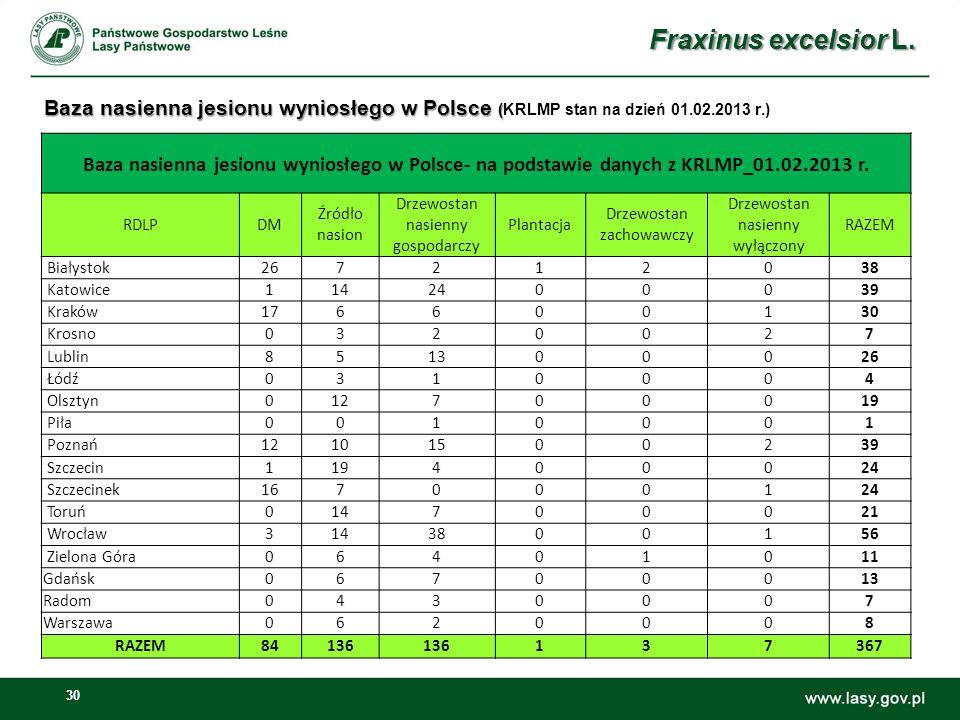 Fraxinus excelsior L. Baza nasienna jesionu wyniosłego w Polsce (KRLMP stan na dzień 01.02.2013 r.)