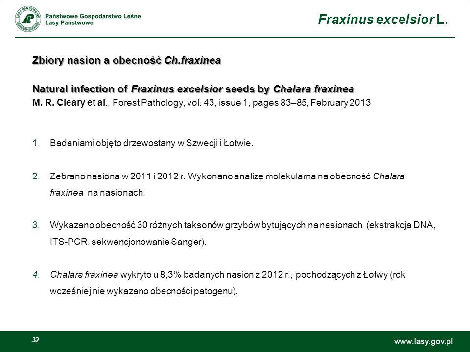Zbiory nasion a obecność Ch.fraxinea