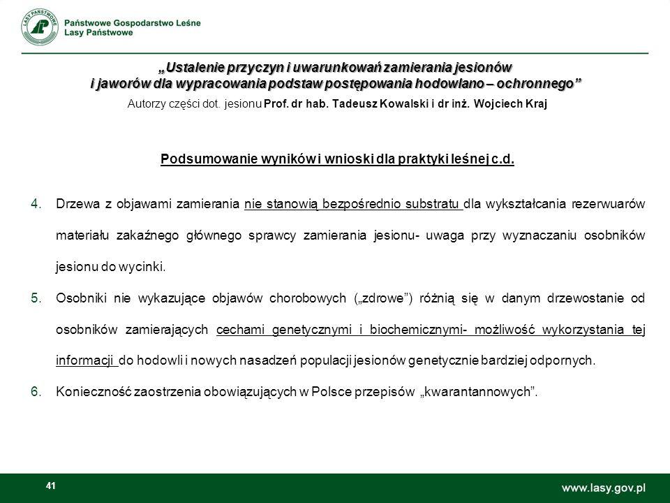 Podsumowanie wyników i wnioski dla praktyki leśnej c.d.
