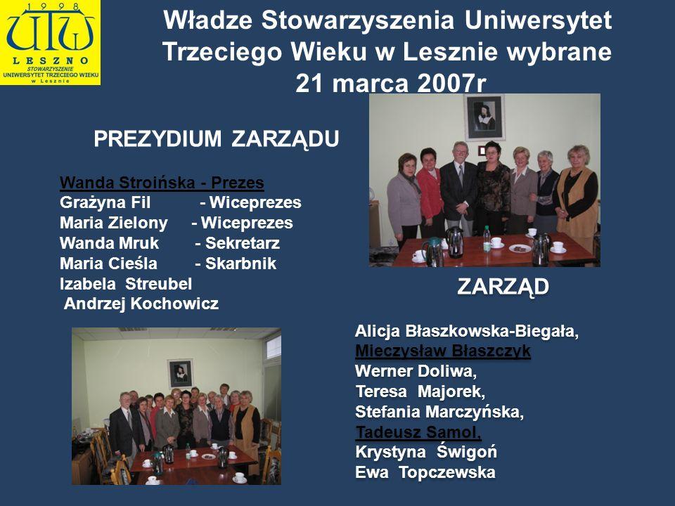 Władze Stowarzyszenia Uniwersytet Trzeciego Wieku w Lesznie wybrane