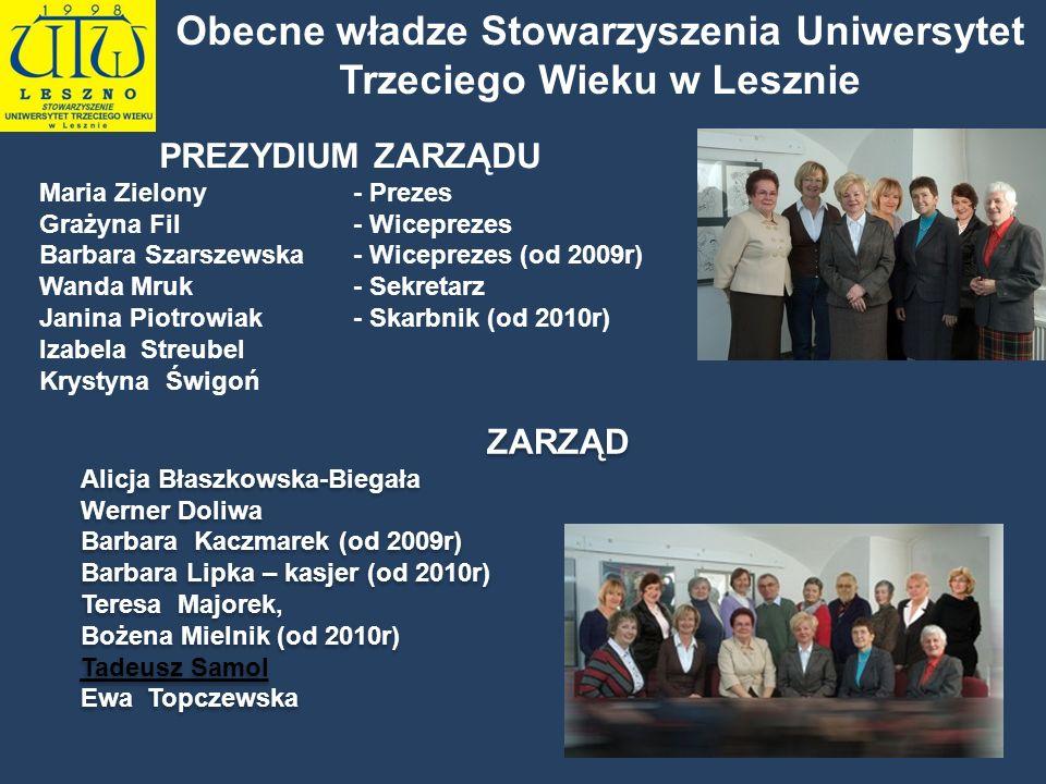 Obecne władze Stowarzyszenia Uniwersytet Trzeciego Wieku w Lesznie