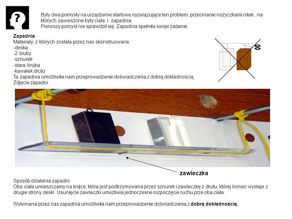 Były dwa pomysły na urządzenie startowe rozwiązujące ten problem: przecinanie nożyczkami nitek , na których zawieszone były ciała i zapadnia.