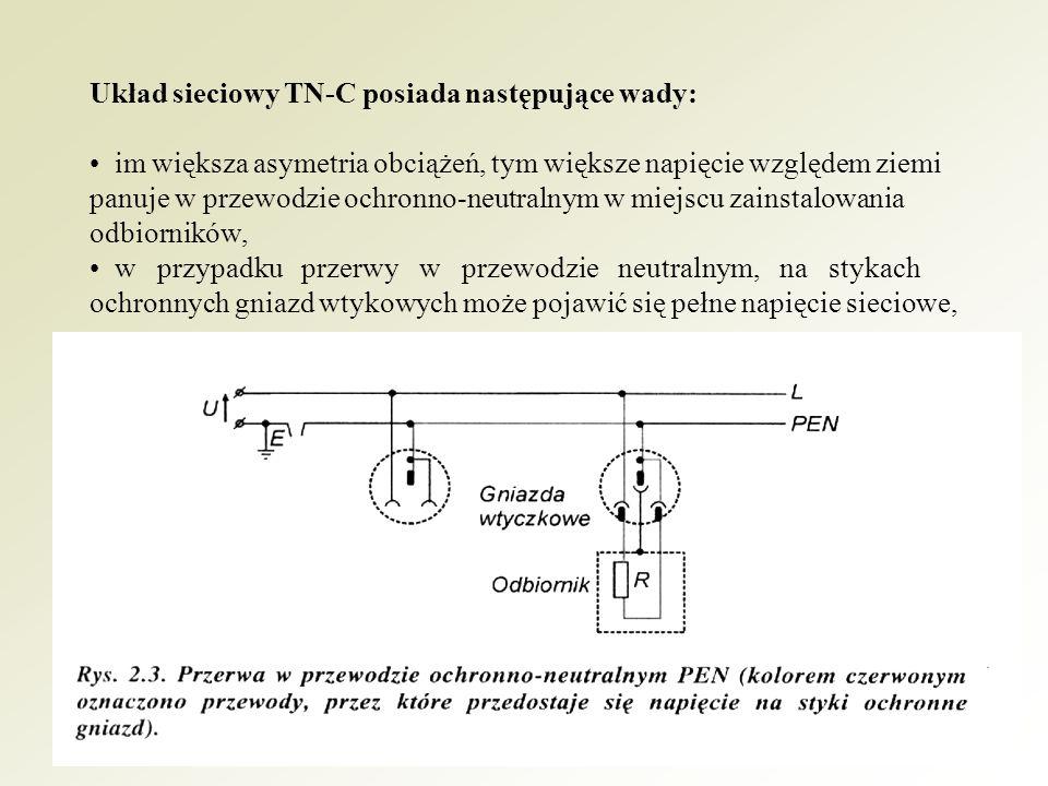 Układ sieciowy TN-C posiada następujące wady: • im większa asymetria obciążeń, tym większe napięcie względem ziemi panuje w przewodzie ochronno-neutralnym w miejscu zainstalowania odbiorników, • w przypadku przerwy w przewodzie neutralnym, na stykach ochronnych gniazd wtykowych może pojawić się pełne napięcie sieciowe,