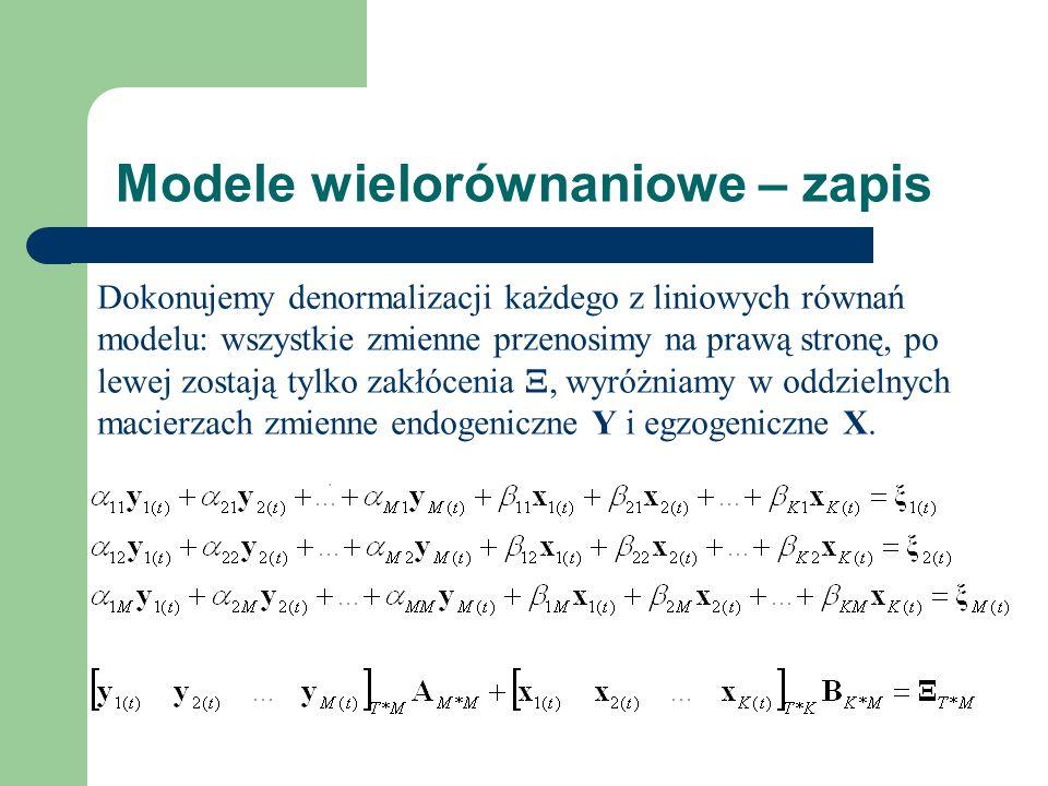 Modele wielorównaniowe – zapis