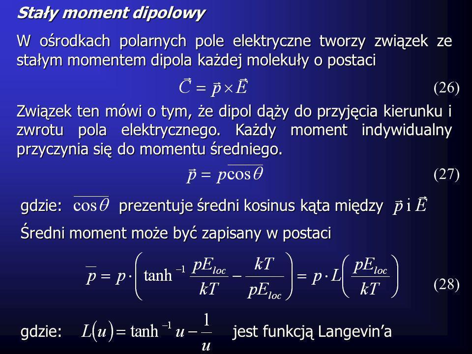 Stały moment dipolowy W ośrodkach polarnych pole elektryczne tworzy związek ze stałym momentem dipola każdej molekuły o postaci.