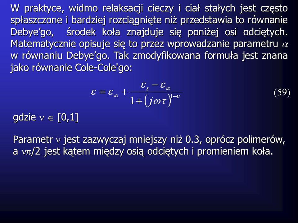 W praktyce, widmo relaksacji cieczy i ciał stałych jest często spłaszczone i bardziej rozciągnięte niż przedstawia to równanie Debye'go, środek koła znajduje się poniżej osi odciętych. Matematycznie opisuje się to przez wprowadzanie parametru  w równaniu Debye'go. Tak zmodyfikowana formuła jest znana jako równanie Cole-Cole go: