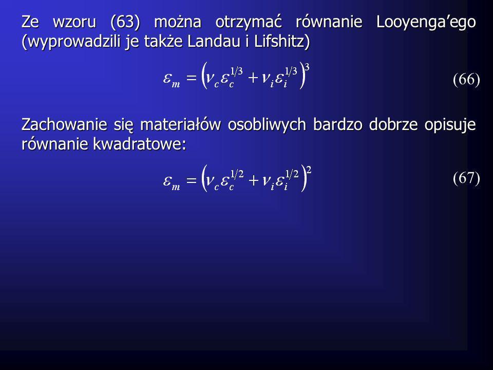 Ze wzoru (63) można otrzymać równanie Looyenga'ego (wyprowadzili je także Landau i Lifshitz)