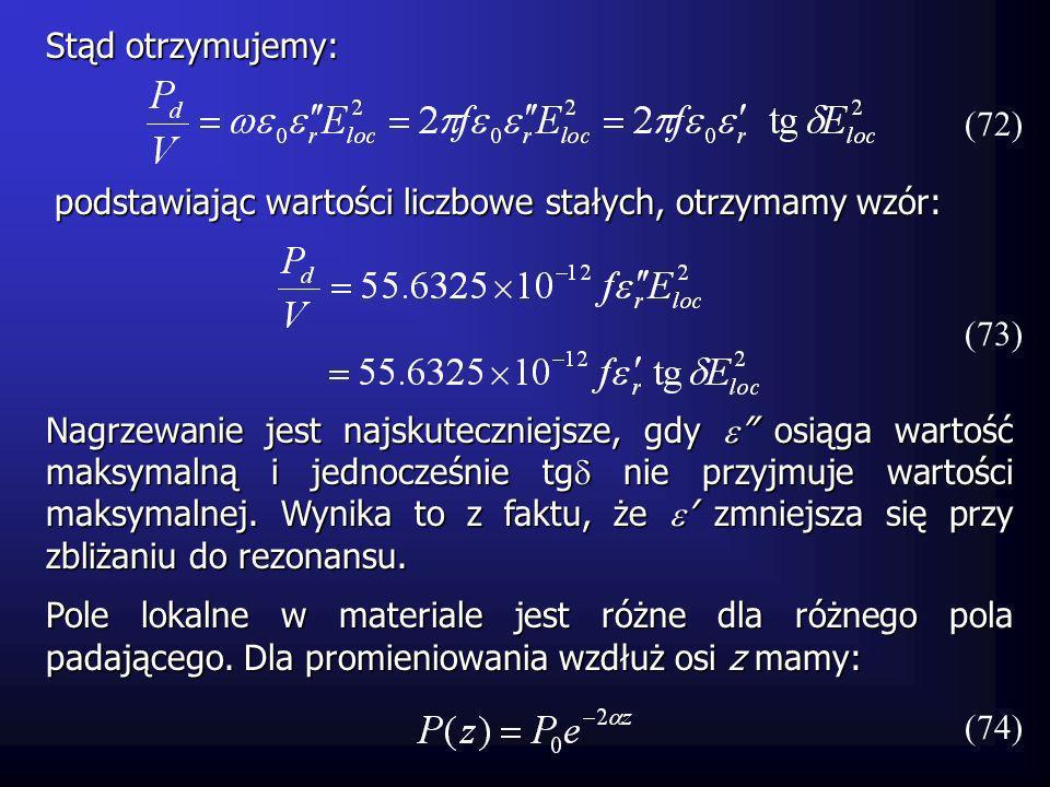 Stąd otrzymujemy: (72) podstawiając wartości liczbowe stałych, otrzymamy wzór: (73)