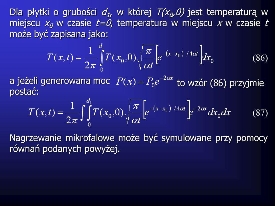 Dla płytki o grubości d1, w której T(x0,0) jest temperaturą w miejscu x0 w czasie t=0, temperatura w miejscu x w czasie t może być zapisana jako: