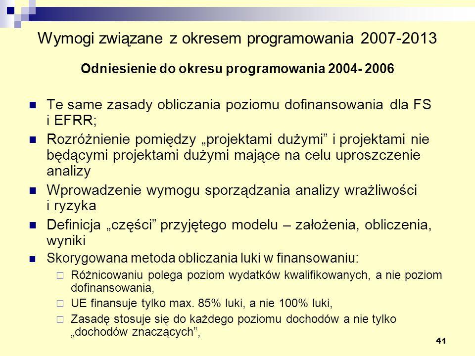 Wymogi związane z okresem programowania 2007-2013