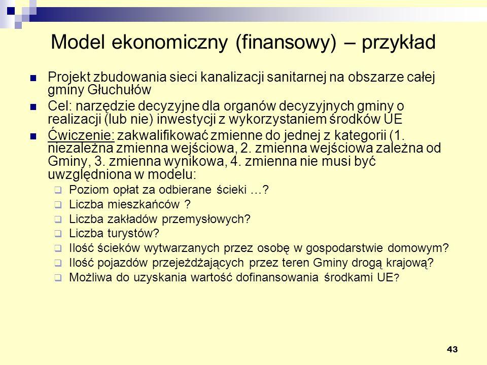 Model ekonomiczny (finansowy) – przykład