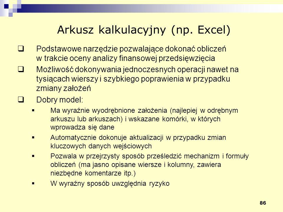 Arkusz kalkulacyjny (np. Excel)