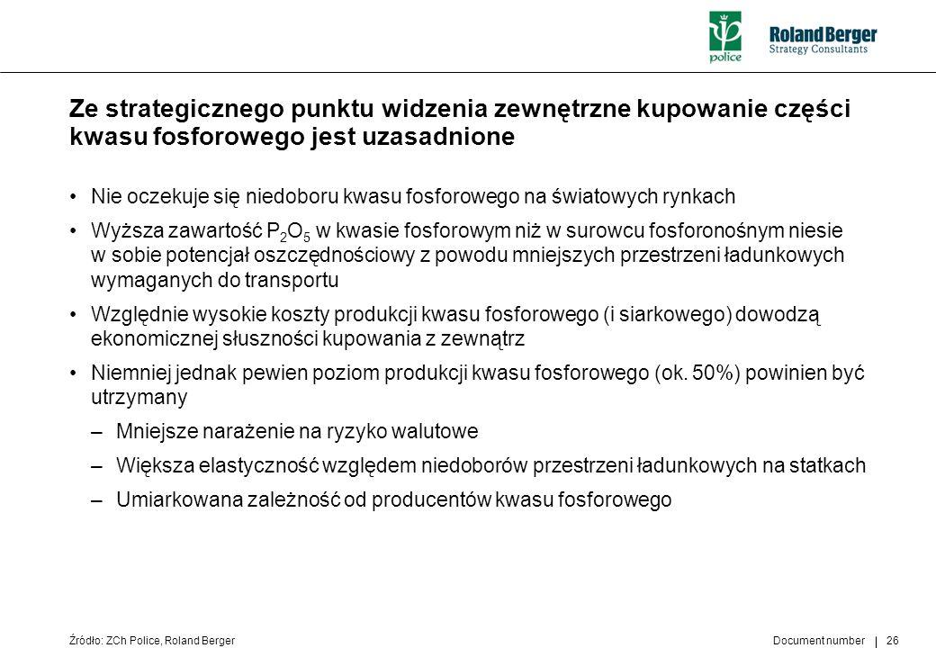 Ze strategicznego punktu widzenia zewnętrzne kupowanie części kwasu fosforowego jest uzasadnione