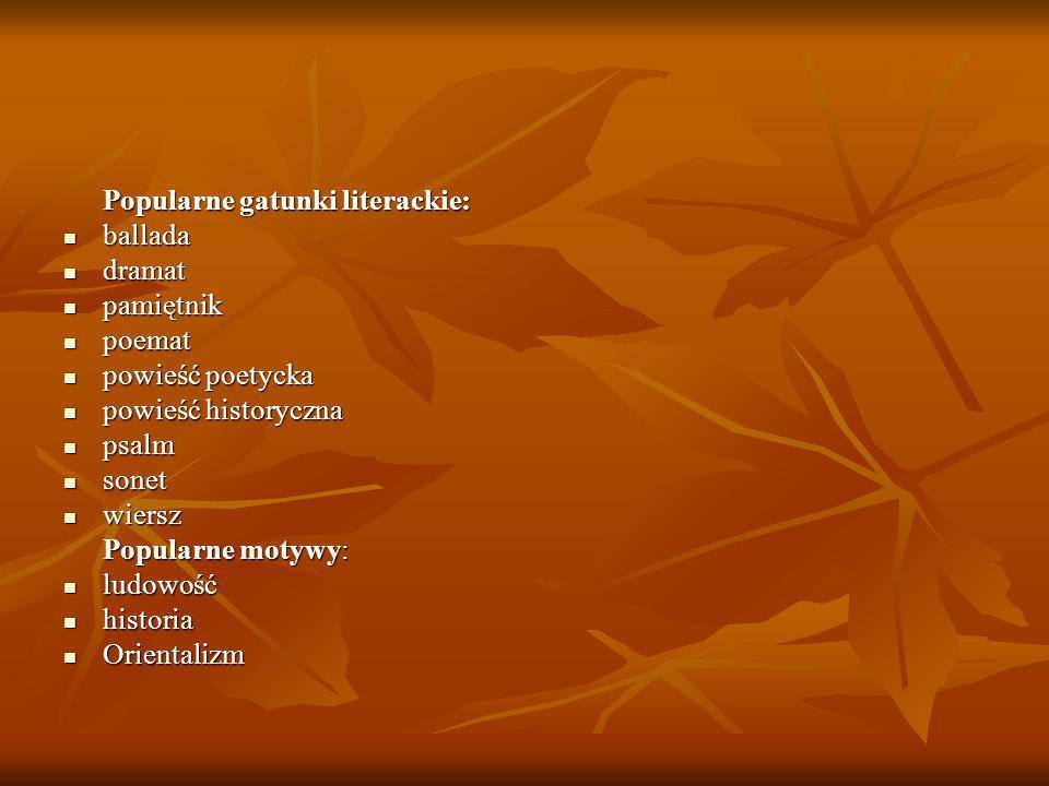 Popularne gatunki literackie: