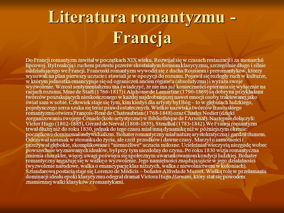 Literatura romantyzmu - Francja