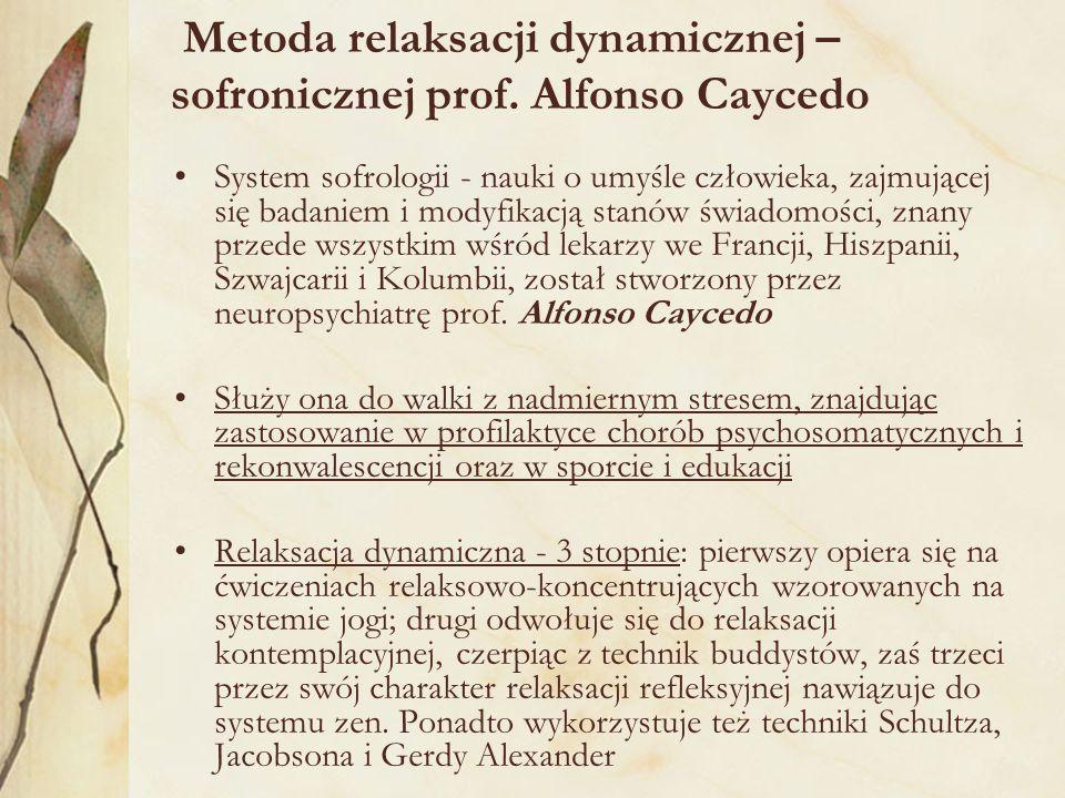 Metoda relaksacji dynamicznej – sofronicznej prof. Alfonso Caycedo
