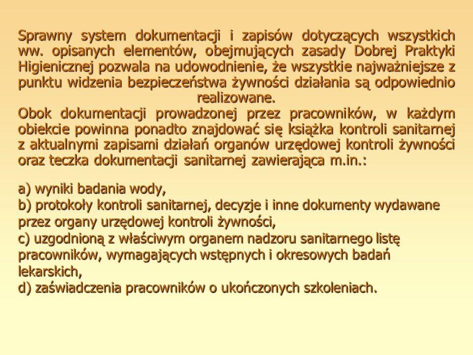 Sprawny system dokumentacji i zapisów dotyczących wszystkich ww