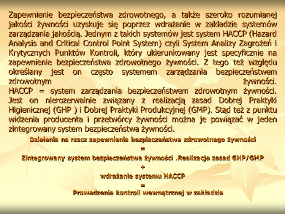 Zapewnienie bezpieczeństwa zdrowotnego, a także szeroko rozumianej jakości żywności uzyskuje się poprzez wdrażanie w zakładzie systemów zarządzania jakością. Jednym z takich systemów jest system HACCP (Hazard Analysis and Critical Control Point System) czyli System Analizy Zagrożeń i Krytycznych Punktów Kontroli, który ukierunkowany jest specyficznie na zapewnienie bezpieczeństwa zdrowotnego żywności. Z tego też względu określany jest on często systemem zarządzania bezpieczeństwem zdrowotnym żywności. HACCP = system zarządzania bezpieczeństwem zdrowotnym żywności. Jest on nierozerwalnie związany z realizacją zasad Dobrej Praktyki Higienicznej (GHP ) i Dobrej Praktyki Produkcyjnej (GMP). Stąd też z punktu widzenia producenta i przetwórcy żywności można je powiązać w jeden zintegrowany system bezpieczeństwa żywności.